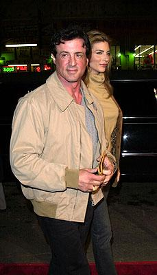 Sylvester Stallone and Jennifer Flavin at the Mann's Chinese Theater premiere of Warner Brothers' 3000 Miles To Graceland