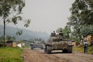 <p>File photo shows Congolese army tanks in the village of Rugari, in the Democratic Republic of the Congo's restive North Kivu province. The UN Security Council demanded an end to foreign support for rebels closing on a provincial capital in eastern Democratic Republic of Congo.</p>