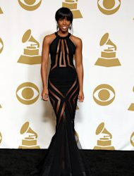 Kelly Rowland poses backstage at the 55th annual Grammy Awards on Sunday, Feb. 10, 2013, in Los Angeles. (Photo by Matt Sayles/Invision/AP)