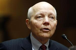 Koskinen testifies before a Senate Finance Committee confirmation hearing on his nomination to be commissioner of the Internal Revenue Service (IRS) on the Capitol Hill in Washington
