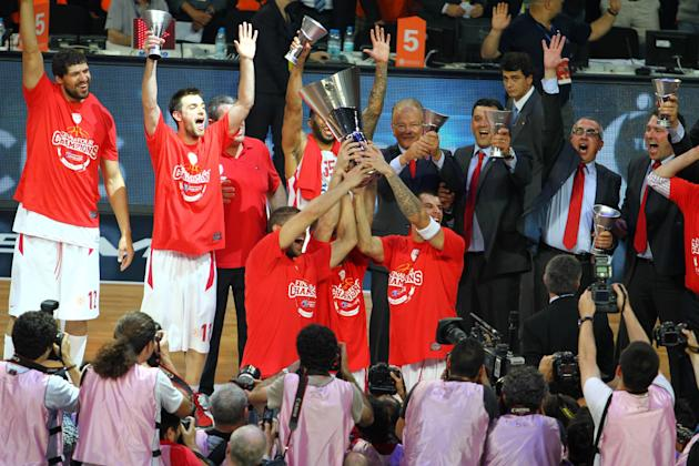 Atmosphere Turkish Airlines Euroleague Basketball Final - Olympiakos Piraeus v CSKA Moscow - held at the Sinan Erdem Sports Hall Olympiakos Piraeus are crowned the Turkish Airlines Euroleague Champion