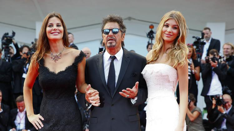 """Cast members Al Pacino, Lucila Sola and Camila Sola attend the red carpet for the movie """"Manglehorn"""" at the 71st Venice Film Festival"""