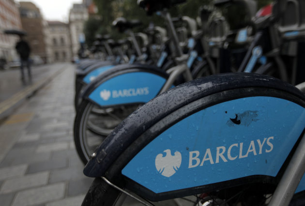 London bikes sponsored by Barclay's bank are seen at a docking station in central London, Monday, July 2, 2012. The chairman of Barclays bank announced his resignation Monday, accepting responsibility for a rate-fixing scandal and leaving the chief executive to face growing demands that he step down, too. Rather than satisfy calls for accountability at Barclays, the resignation of Chairman Marcus Agius saw politicians step up their calls for CEO Bob Diamond to go as well. (AP Photo/Lefteris Pitarakis)