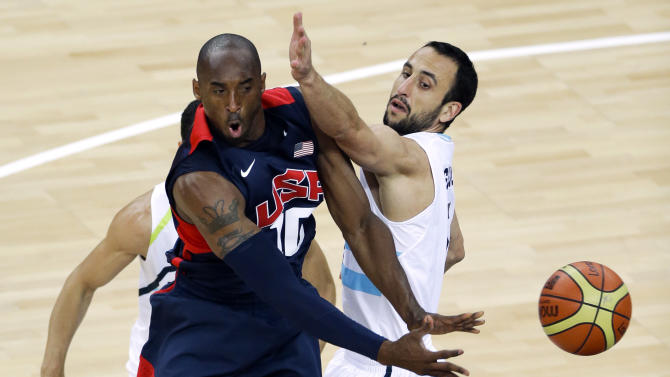 United States' Kobe Bryant, is defended by Argentina's Manu Ginobili, right, during a men's basketball semifinal game at the 2012 Summer Olympics, Friday, Aug. 10, 2012, in London. (AP Photo/Victor R. Caivano)