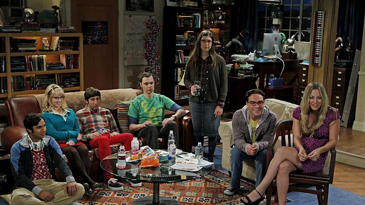 """The Skank Reflex Analysis"" -- The gang deals with the aftermath of Penny and Raj's night together, while Sheldon takes command of the paintball team, on the fifth season premiere of THE BIG BANG THEORY, Thursday, Sept. 22 (8:00-8:31 PM, ET/PT) on the CBS Television Network.  Pictured (left to right):  Kunal Nayyar, Melissa Rauch, Simon Helberg, Jim Parsons, Mayim Bialik, Johnny Galecki, Kaley Cuoco. Photo: Cliff Lipson/CBS ©2011 CBS Broadcasting Inc. All Rights Reserved. Big Bang Theory"