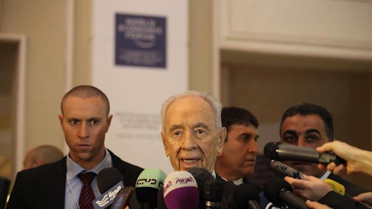 CORRECTS DATE TO SUNDAY MAY, 26, 2013 -- Israeli President, Shimon Peres gives a brief statement at the World Economic Forum, in Southern Shuneh, 34 miles (55 kilometers) southeast of Amman, Jordan, Sunday, May 26, 2013. (AP Photo/Mohammad Hannon)