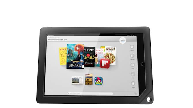 This undated image provided by Barnes & Noble shows one of the two new Nook tablets the company will be releasing in the fall of 2012. The company said Wednesday, Sept. 26, 2012,  that its new Nook HD will come in two sizes, one with a screen 7-inches wide diagonally, the same size as past Nooks, starting at $199, and one with a new 9-inch diagonal screen, called the Nook HD+, starting at $269. In addition to the new HD screen and a lighter body, Barnes & Noble is also increasing the services the Nook offers. It is adding a video purchase and rental service, allowing user profiles and making it easier to browse titles in its book and magazine stores. (AP Photo/Barnes & Noble)