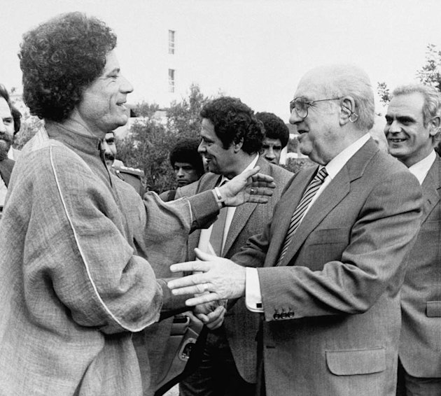 1984, Gheddafi incontra il premier greco Andreas Papandreou