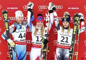 First placed Weirather, second placed Kling and third placed Fenninger pose on the podium after the Super-G race at the women's Alpine skiing World Cup competition at the Corviglia in St. Moritz