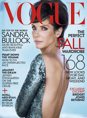 This magazine cover image shot by Peter Lindbergh and released by Vogue shows actress Sandra Bullock on the cover of the October 2013 issue.. The issue will hit national newsstands on Sept. 24, 2013. The full story can be viewed on Vogue.com. (AP Photo/Vogue, Peter Lindbergh) **MANDATORY CREDIT**