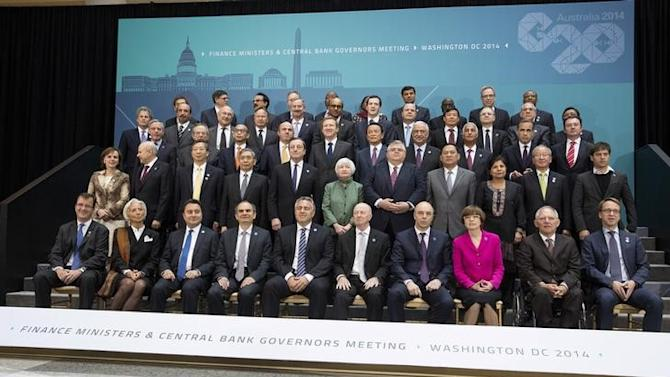 G20 Finance Ministers and central bankers pose for the family portrait during the IMF/World Bank 2014 Spring Meeting in Washington