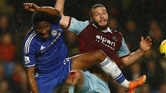 John Obi Mikel and Andy Carroll tussle - Chelsea v West Ham