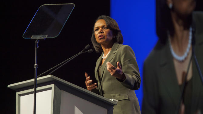 Dr. Condoleezza Rice gives the keynote speech at the 2013 annual International Franchise Association (IFA) convention, on Monday February 18, 2012 in Las Vegas.  (Photo by Barry Brecheisen/Invision/AP)