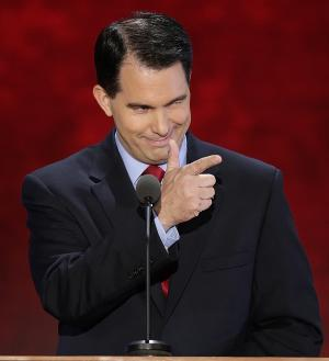 Wisconsin Gov. Scott Walker addresses the Republican National Convention in Tampa, Fla., on Tuesday, Aug. 28, 2012. (AP Photo/J. Scott Applewhite)