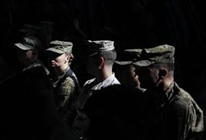 U.S. troops attend a change of command ceremony in Kabul