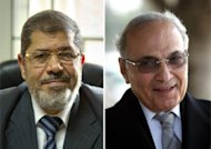 Muslim Brotherhood presidential candidate, Mohammed Mursi (left) and former prime minister Ahmed Shafiq. Egypt looks set for a run-off presidential vote pitting Mursi against Shafiq, according to tallies by the Islamist group