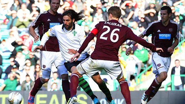 Celtic's Giorgios Samaras runs at the Hearts defence