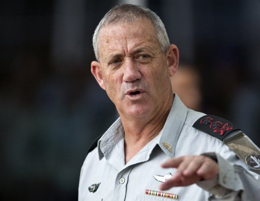 "Israel's military chief Benny Gantz, pictured here in Tel Aviv on October 16, 2012, said on Monday that ""terrorist"" groups fighting the regime of Syrian President Bashar al-Assad alongside other insurgents were becoming stronger"
