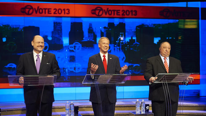 FILE - In this Aug. 9, 2013 file photo, New York City Republican mayoral candidates, from left, Joe Lhota, George McDonald, and John Catsimatidis participate in a primary mayoral debate at the WABC-TV studios in New York. The candidates are getting set to square off for their first debate of the campaign's final fortnight on Wednesday, Aug. 28, 2013. (AP Photo/New York Daily News, James Keivom, Pool, File)