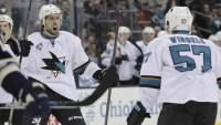 Sharks use big third period to complete perfect six-game road trip