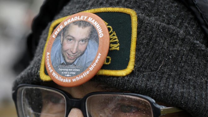 Demonstrator Richard Ochs wears a button in support of Army Pfc. Bradley Manning as he stands outside of Fort Meade, Md., Tuesday, Nov. 27, 2012, where Manning is scheduled to appear for a pretrial hearing. Manning is accused of sending hundreds of thousands of classified Iraq and Afghanistan war logs and more than 250,000 diplomatic cables to the secret-spilling website WikiLeaks while he was working as an intelligence analyst in Baghdad in 2009 and 2010.  (AP Photo/Patrick Semansky)