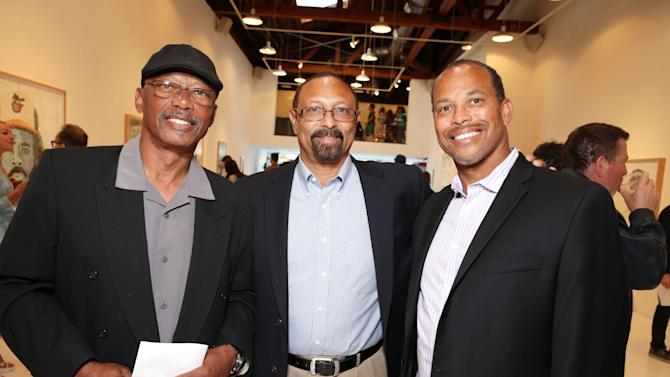 EXCLUSIVE CONTENT - PREMIUM RATES APPLY Former Dodgers players Darrell Thomas, Kenny Landreaux and Major League Baseball Scouting Bureau's Darrell Miller at Artist Pat Riot's Art Exhibit, 'Out of Left Field' benefiting the MLB Urban Youth Academy on Thusday, May, 23rd, 2013 in Los Angeles. (Photo by Eric Charbonneau/Invision for Protagonist Brand Management/AP Images)