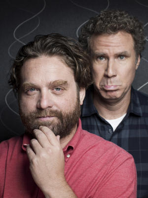 "This July 27, 2012 photo shows actors Zach Galifianakis, left, and Will Ferrell pose for a portrait in New York.  Ferrell and Galifianakis play two North Carolina politicians competing in an increasingly nasty Congressional race in the film ""The Campaign,"" opening Aug. 10.  (Photo by Victoria Will//Invision/AP)"