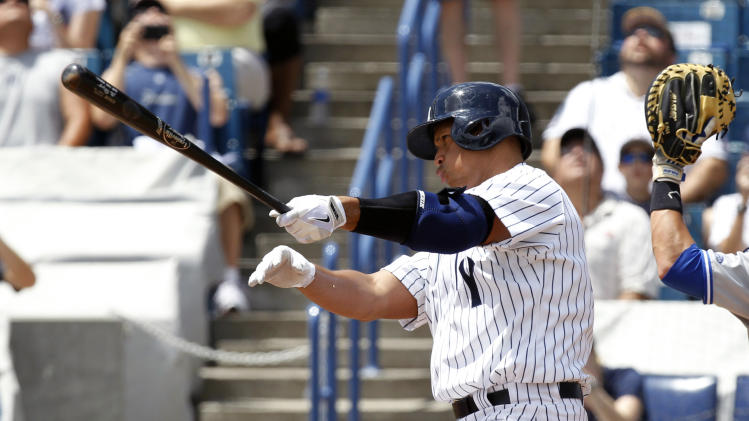 New York Yankees' Alex Rodriquez bats in the first inning for the Tampa Yankees against the Dunedin Blue Jays in a minor league rehab game in Tampa, Fla., Wednesday, July 10, 2013. (AP Photo/Scott Iskowitz)