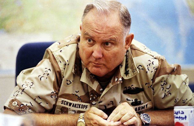 FILE - In this Sept. 14, 1990 file photo, U.S. Army Gen. H. Norman Schwarzkopf, commander of U.S. forces in Saudi Arabia, answers questions during an interview in Riyadh. Schwarzkopf died Thursday, Dec. 27, 2012 in Tampa, Fla. He was 78. (AP Photo/David Longstreath, File)