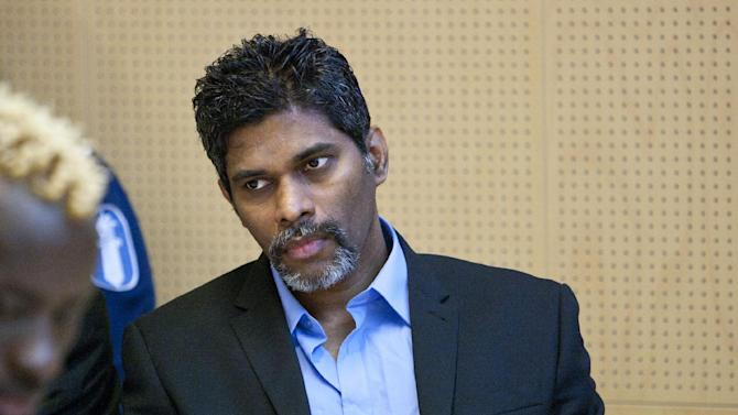 FILE-  This is a Thursday June 9, 2011 file photo of  Singaporean Wilson Raj Perumal  as he sits in the Lapland district court on match fixing charges in Rovaniemi, Finland. When police arrested Wilson Raj Perumal in Finland, it didn't take long for him to realize that his criminal buddies had ratted him out. He's been exacting revenge ever since _ by ratting on them, too. (AP Photo/Lehtikuva, Kaisa Siren, FILE) FINLAND OUT