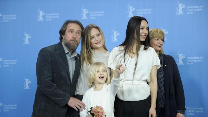 Actors Maedel, Jentsch, author and director Berrached, actresses Gastdorf and Pieske pose during a photocall to promote the movie 24 Wochen at the Berlinale International Film Festival in Berlin