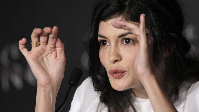 Actress Audrey Tautou gestures during a press conference for Therese Desqueyroux at the 65th international film festival, in Cannes, southern France, Sunday, May 27, 2012. (AP Photo/Francois Mori)