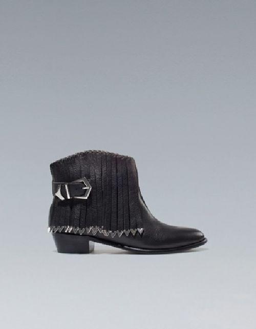 Fringed Flat Ankle Boot
