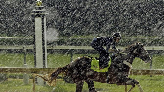 Exercise rider Abel Flores takes Kentucky Derby hopeful Tapiture for a morning workout in the rain at Churchill Downs Monday, April 28, 2014, in Louisville, Ky. (AP Photo/Garry Jones)