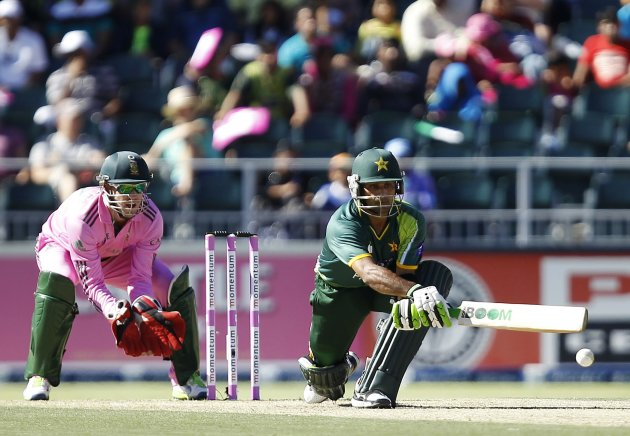Pakistan's Mohammad Hafeez plays a shot during their third One Day International (ODI) cricket match against South Africa in Johannesburg