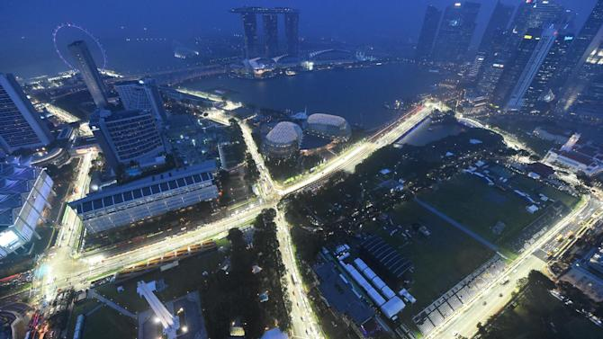 The circuit for the Formula One Singapore Grand Prix night race is lit up on September 11, 2014