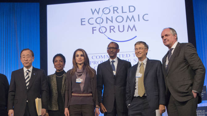 From left, UN Secretary-General Ban Ki-moon, President and CEO Care USA, Helene Gayle, Queen Rania of Jordan, Rwanda's President, Paul Kagame, Co-Chairman of the Bill & Melinda Gates Foundation, Bill Gates, CEO, Unilever, UK, Paul Polman pose for photographers at the end of a session at the 43rd Annual Meeting of the World Economic Forum, WEF, in Davos, Switzerland, Thursday, Jan. 24, 2013. (AP Photo/Michel Euler)