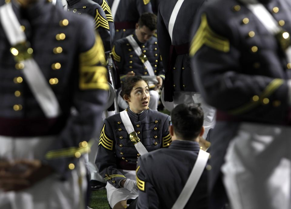 Cadets gather before a graduation and commissioning ceremony at the U.S. Military Academy in West Point, N.Y., on Saturday, May 21, 2011.   (AP Photo/Mike Groll)