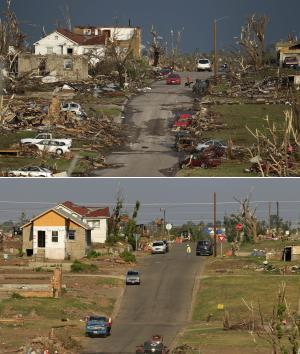 This two-photo combo shows a scene taken on May 23, 2011, top, and again on July 21, 2011 showing progress made in Joplin, Mo. nearly two months after a tornado destroyed a large swath of the city and killed 159 people. (AP Photo/Charlie Riedel)