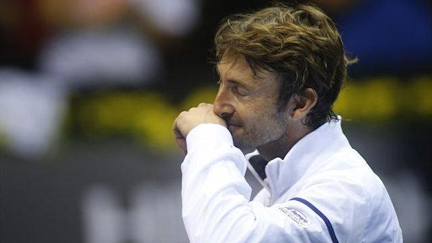 Spain's Juan Carlos Ferrero reacts as says farewell during the Open 500 Valencia