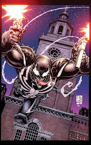 This comic book image released by Marvel Comics shows the Marvel anti-hero Venom. Venom, long a nemesis of Spider-Man but most recently a sanctioned operative of the U.S. government, is pulling up stakes and looking for a fresh start, in Philadelphia of all places. Starting with issue No. 28, due out later this fall, the Marvel Comics character will protect the city of brotherly love from crime, malfeasance and, maybe, says writer Cullen Bunn and editor Tom Brennan, himself, too. (AP Photo/Marvel Comics)