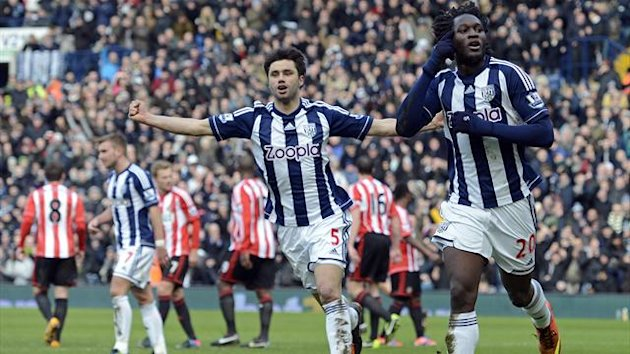 Romelu Lukaku celebrates scoring for West Bromwich Albion against Sunderland (AFP)