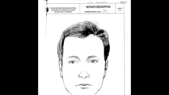 "This drawing done by Chile's police and released by Communist Party attorney Eduardo Contreras on Monday, June 3, 2013, shows a representation of the face of Dr. Price, who allegedly attended Pablo Neruda at the hospital when he died forty years ago. Judge Mario Carroza is formally investigating the cause of death of the Nobel Prize-winning poet Pablo Neruda. A judge ordered the police sketch based on the collections of Dr. Sergio Draper, a key witness who attended Neruda at the hospital. Draper said in the 1970s that he was at Neruda's side when he died. But Draper recently told the judge a different story — that a ""Dr. Price"" took over Neruda's care just before he died, and disappeared shortly thereafter. The police notes below the sketch describe the subject as about 28 years old, with blue eyes, white skin and short blonde. (AP Photo/Chile Police)"