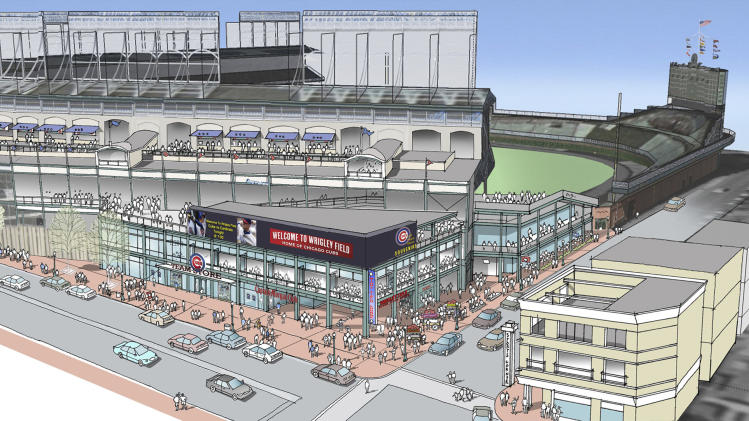 This artist rendering provided May 1, 2013 by the Chicago Cubs shows renovations planned at Wrigley Field. Part of the $500 million renovation plan for the 99-year-old stadium is to build an exterior plaza at the corner of Addison and Sheffield. (AP Photo/Courtesy the Chicago Cubs)