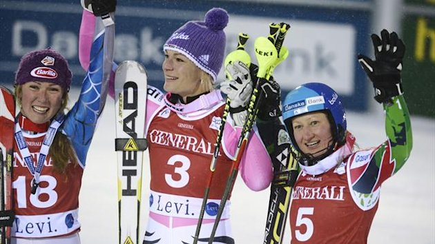 Third placed Mikaela Shiffrin (L) of the U.S., winner Maria Hoefl-Riesch (C) of Germany and second placed Tanja Poutiainen of Finland celebrate during the women's slalom at the FIS Alpine Ski World Cup Levi in Kittila (Reuters)