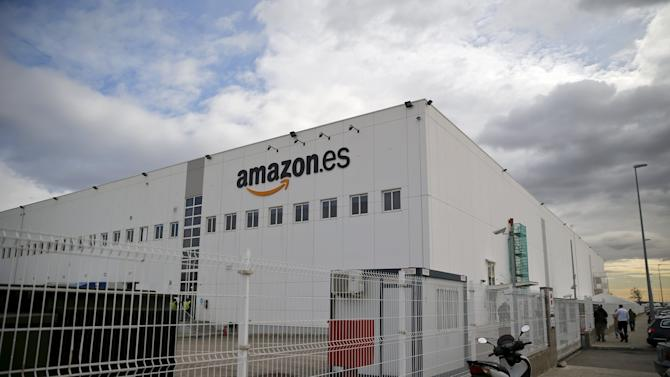 A general view shows an Amazon fulfillment centre in Madrid, Spain