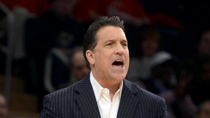 St. John's head coach Steve Lavin shouts orders in the first half of their NCAA college basketball game against Pittsburgh at Madison Square Garden in New York, Sunday, Feb. 24, 2013. (AP Photo/Henny Ray Abrams)