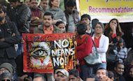 "Activists boycott India's Republic Day celebrations following the gang rape and murder of a student in New Delhi on January 26, 2013. Verdicts for five men accused of the fatal gang-rape of a student on a New Delhi bus would be handed down ""very soon,"" a defence lawyer has said, as an application to relocate the trial failed"