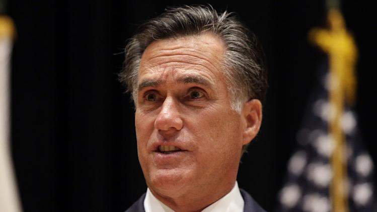 Republican presidential candidate and former Massachusetts Gov. Mitt Romney speaks to reporters in Costa Mesa, Calif., Monday, Sept. 17, 2012. (AP Photo/Charles Dharapak)