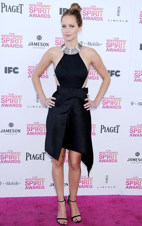 Jennifer showed up to the Film Independent Spirit awards in this quirky yet chic number. Copyright [Rex]